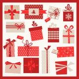 Kerstmisgiften Geplaatst Achtergrond Royalty-vrije Stock Foto