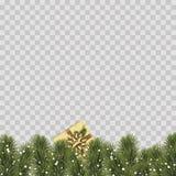 Kerstmisgrens met de takken van de pijnboomboom op transparante achtergrond Vector royalty-vrije stock fotografie