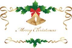 Kerstmisgrens met rode boog en heilige bladeren Stock Foto