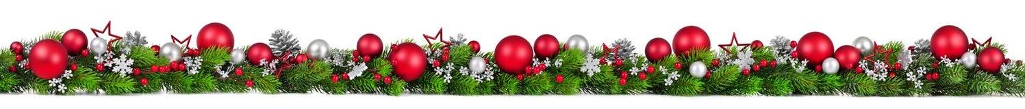 Kerstmisgrens op wit, extra wijd Royalty-vrije Stock Foto