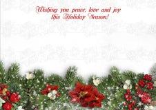Kerstmisgrens op witte achtergrond met hulst, spar, vÃscum Royalty-vrije Stock Afbeeldingen