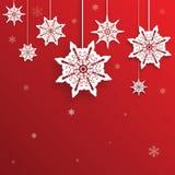 Kerstmisgroet met decoratieve sneeuwvlok Royalty-vrije Stock Afbeeldingen