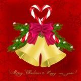Kerstmisgroet met kenwijsjeklokken Stock Foto