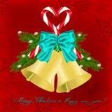 Kerstmisgroet met kenwijsjeklokken Royalty-vrije Stock Foto