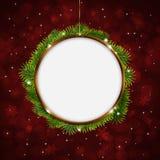 Kerstmisgroet Ring Red Background Stock Foto's