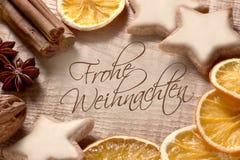 Kerstmisgroeten in het Duits Stock Fotografie