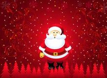 Kerstmisgroeten met kerstman-Vector Stock Illustratie
