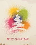 Kerstmisgroeten, nevel die, op muur wordt geschilderd. Royalty-vrije Stock Foto's