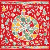 Kerstmishand getrokken achtergrond met bal en ornament Royalty-vrije Stock Foto