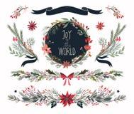 Kerstmishand getrokken inzameling van decoratieve installaties Stock Foto's
