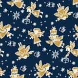 Kerstmishand getrokken naadloos vectorpatroon stock illustratie