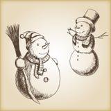 Kerstmishand getrokken vectorillustratie - sneeuwman, uitstekende stijl Royalty-vrije Stock Afbeelding