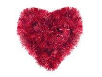 Kerstmishart met rood klatergoud, nieuw geïsoleerd jaarsymbool, Stock Foto's