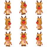Kerstmisherten met de de rode sjaal en vuisthandschoenen van de neusslijtage Royalty-vrije Stock Afbeeldingen