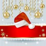 Kerstmishoed en snuisterijen op gebreide achtergrond Stock Afbeeldingen