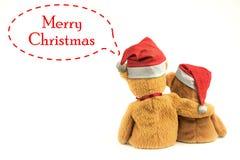 Kerstmishoed met Teddy Bear Royalty-vrije Stock Foto's