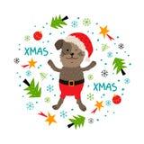 Kerstmishond, de unieke hand getrokken stijl van de Groetkaart, Kerstmispuppy, dier De hond van beeldverhaalkerstmis Vector vakan vector illustratie
