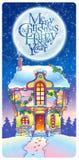 Kerstmishuis onder het maanlicht Stock Foto's