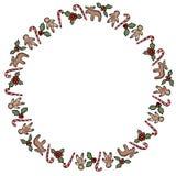 Kerstmishulst en suikergoed sierkroon die op witte achtergrond wordt geïsoleerd stock illustratie