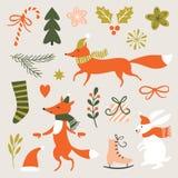 Kerstmisillustratie, Kerstkaart Stock Foto