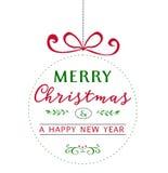 Kerstmisillustratie met bal en groettekst Royalty-vrije Stock Foto