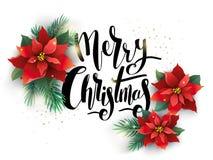 Kerstmisillustratie met bloemen wordt verfraaid die Stock Foto