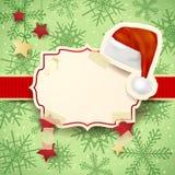 Kerstmisillustratie met etiket en Kerstmishoed Royalty-vrije Stock Afbeeldingen