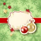 Kerstmisillustratie met etiket en snuisterijen Royalty-vrije Stock Afbeelding