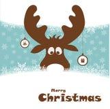 Kerstmisillustratie met grappige herten Stock Afbeelding