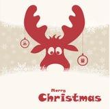 Kerstmisillustratie met grappige herten Stock Foto's