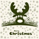 Kerstmisillustratie met grappige herten Royalty-vrije Stock Afbeeldingen