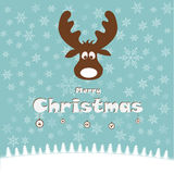 Kerstmisillustratie met grappige herten Stock Foto