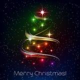 Kerstmisillustratie met Kerstmisboom Stock Fotografie