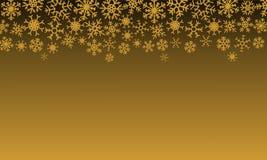 Kerstmisillustratie met sneeuwvlokken op gradiëntachtergrond in gouden kleuren royalty-vrije illustratie