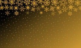 Kerstmisillustratie met sneeuwvlokken op gradiëntachtergrond in gouden kleuren stock illustratie