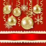Kerstmisillustratie met snuisterijen op gebreide achtergrond Royalty-vrije Stock Foto's