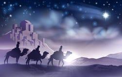 Kerstmisillustratie van de drie Wijzengeboorte van christus Stock Foto's