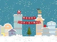Kerstmisillustratie van de winterstad en slinger Achtergrond FO stock afbeeldingen
