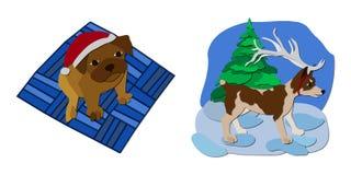 Kerstmisillustratie van honden stock afbeelding