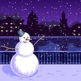 Kerstmisillustratie van stad bij nacht: kade, de winter, sneeuwman Royalty-vrije Stock Foto