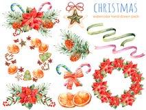 Kerstmisinzameling: kronen, poinsettia, boeketten, sinaasappel, denneappel, linten, Kerstmiscakes vector illustratie
