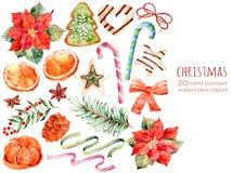 Kerstmisinzameling: snoepjes, poinsettia, anijsplant, sinaasappel, denneappel, linten, Kerstmiscakes vector illustratie