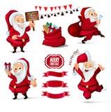 Kerstmisinzameling van Santa Claus-karakters, lintbanners voor uw ontwerpproject Royalty-vrije Stock Afbeelding