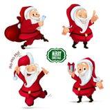 Kerstmisinzameling van Santa Claus-karakters voor uw ontwerpproject Stock Fotografie