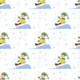 Kerstmisjonge geitjes die het patroon van het van de achtergrond winterspelen naadloze van de de wintervakantie beeldverhaal nieu vector illustratie