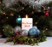 Kerstmiskaars 2018 Stock Fotografie