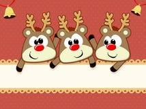 Kerstmiskaart van babyrendieren Royalty-vrije Stock Afbeeldingen