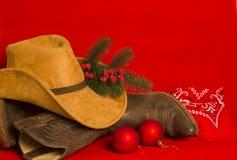 Kerstmiskaart van de cowboy Amerikaanse het Westen traditionele laarzen en hoed  stock fotografie