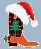 Kerstmiskaart van de cowboy met laars vector illustratie