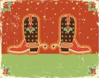 Kerstmiskaart van de cowboy met laarzen Royalty-vrije Stock Afbeelding